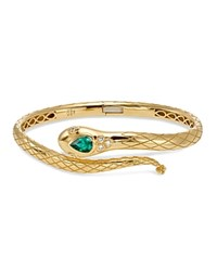 Temple St. Clair 18K Yellow Gold Bella Serpent Bangle With Tsavorite And Diamonds Green Gold
