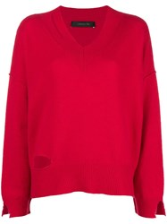 Federica Tosi Cut Detail Fitted Sweater Red