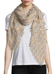 Chloe Fil Coupe Wool And Silk Scarf Beige
