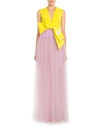 Delpozo Bicolor Bow Front Tulle Gown Daffodil Yellow