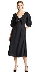 Edit Tie Front A Line Dress Black Crepe