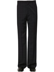 Balenciaga Tailored Prince Of Wales Wool Pants Blue