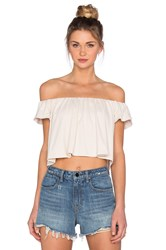 Susana Monaco Off The Shoulder Crop Top Beige