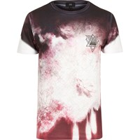 River Island White And Red Floral Smudge Print T Shirt