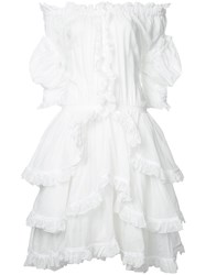 Faith Connexion Ruffled Off Shoulder Dress White