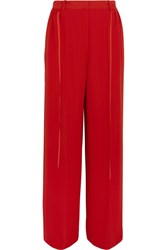 Adeam Crepe De Chine Wide Leg Pants Tomato Red