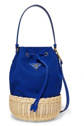 Prada Giardiniera Leather Trimmed Canvas And Wicker Shoulder Bag Blue