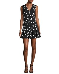 Dolce And Gabbana Sleeveless Polka Dot Fit Flare Dress Black White Multi