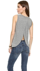 Current Elliott The Cross Back Muscle Tee Heather Grey