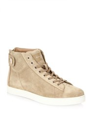 Gianvito Rossi Suede High Top Sneakers Tan