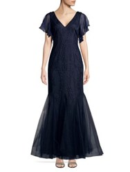 Cachet Embroidered Mermaid Gown Navy