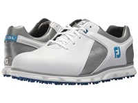 Footjoy Pro Sl Spikeless Plain Toe Rover Whte Grey Light Blue Trim Golf Shoes White