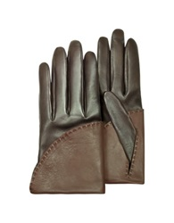 Pineider Women's Two Tone Brown Short Nappa Gloves W Silk Lining