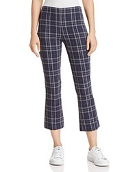 Bailey 44 Campus Plaid Cropped Flared Pants Midnight Blue