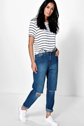 Boohoo High Dark Wash Distressed Boyfriend Jeans Blue