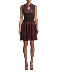 Alaia Two Tone Honeycomb Fit And Flare Dress Black Red