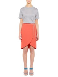 Ted Baker Colour By Numbers Harlaa Square Cut Linen T Shirt Grey