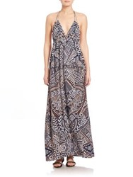 Bcbgmaxazria Kamala Open Back Halter Gown South Pacific Combo