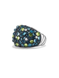 David Yurman Osetra Mosaic Dome Ring With Diamonds Hamtpon Blue Topaz And Peridot Multi