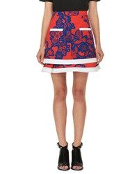 Carven Floral Tiered Mini Skirt Red Blue Blue Red