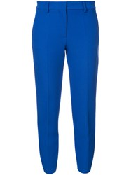 Msgm Cropped Trousers Polyester Spandex Elastane Viscose Blue