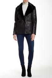 French Connection Winter Rhoda Faux Fur Lined Faux Leather Jacket Black