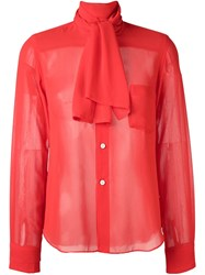Comme Des Garcons Vintage Pussy Bow Blouse Red
