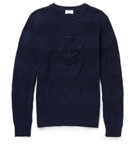 Faconnable Anchor Mercerised Cotton Sweater Blue