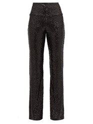 Norma Kamali High Rise Sequinned Flared Trousers Black