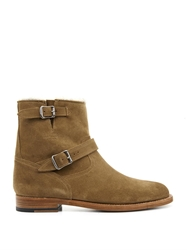 Saint Laurent Shearling Lined Suede Ankle Boots