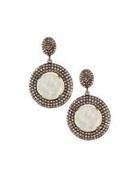 Bavna Mother Of Pearl And Champagne Diamond Double Drop Earrings