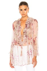 Zimmermann Winsome Ruffle Top In Pink Floral Pink Floral