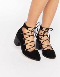 Asos Ooh La La Ghillie Lace Up Shoes Black