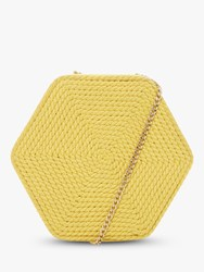 Dune Edalta Woven Hexagonal Chain Strap Bag Yellow