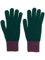 Paul Smith Ps By Contrast Knitted Gloves Green