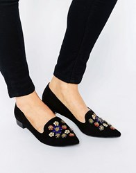 Glamorous Black Pointed Toe Embellished Flat Shoes Black