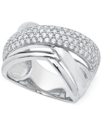 Crislu Platinum Over Sterling Silver Cubic Zirconia Crossover Ring