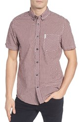 Ben Sherman Men's Core Mod Fit Gingham Shirt Oxblood Red