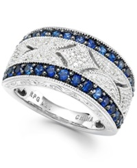 Macy's Sapphire 1 Ct. T.W. And Diamond 1 10 Ct. T.W. Ring In Sterling Silver