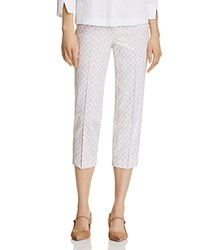 Basler Printed Cropped Pants Beige White