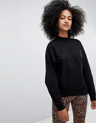 Monki High Neck Oversized Sweatshirt In Black