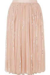 Needle And Thread Sequined Tulle Midi Skirt Pink