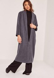 Missguided Tall Shawl Collar Wool Maxi Coat Grey