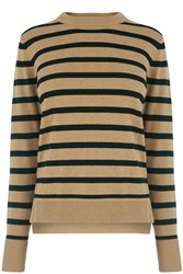 Warehouse Stripe Boxy Crew Jumper Black