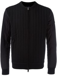 Armani Jeans Thick Ribbed Bomber Jacket Black