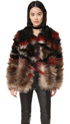 Free People Scarlet Fax Fur Jacket Red Combo