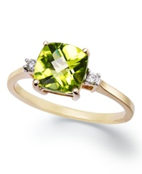 Macy's 14K Gold Ring Cushion Cut Peridot 1 5 8 Ct. T.W. And Diamond Accent Ring