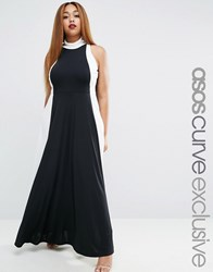 Asos Curve Illusion Mono High Neck Maxi Dress In Crepe Mono Black
