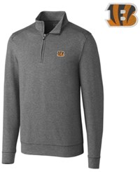 Cutter And Buck Men's Cincinnati Bengals Shoreline Quarter Zip Pullover Charcoal