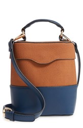 Leith Bicolor Faux Leather Cylinder Bag Beige Tan Navy